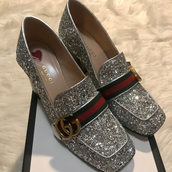 497d42a1daa Gucci Shoes - Gucci Peyton glitter loafer pumps